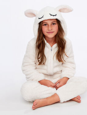 Kids bunny onesie ecru.