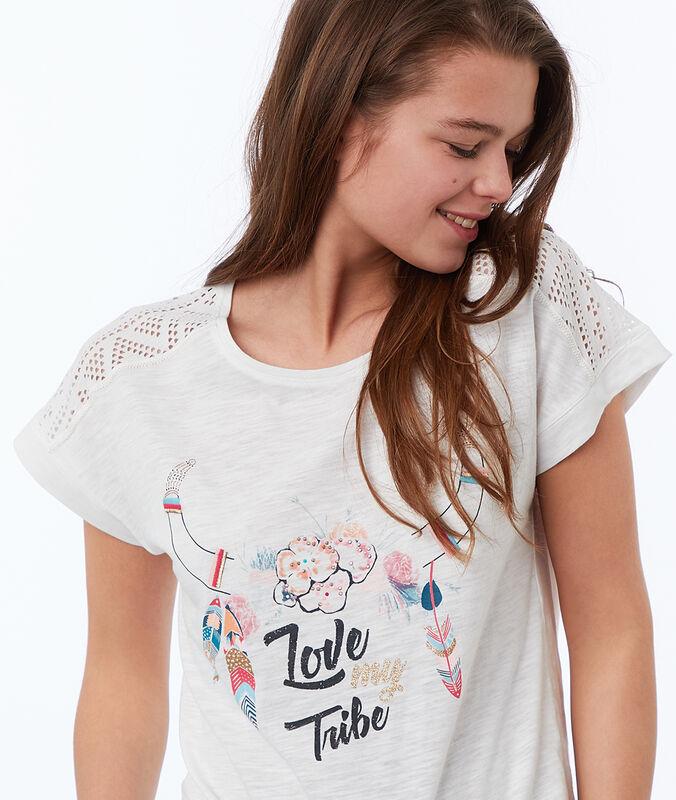 Ethnic print t-shirt white.
