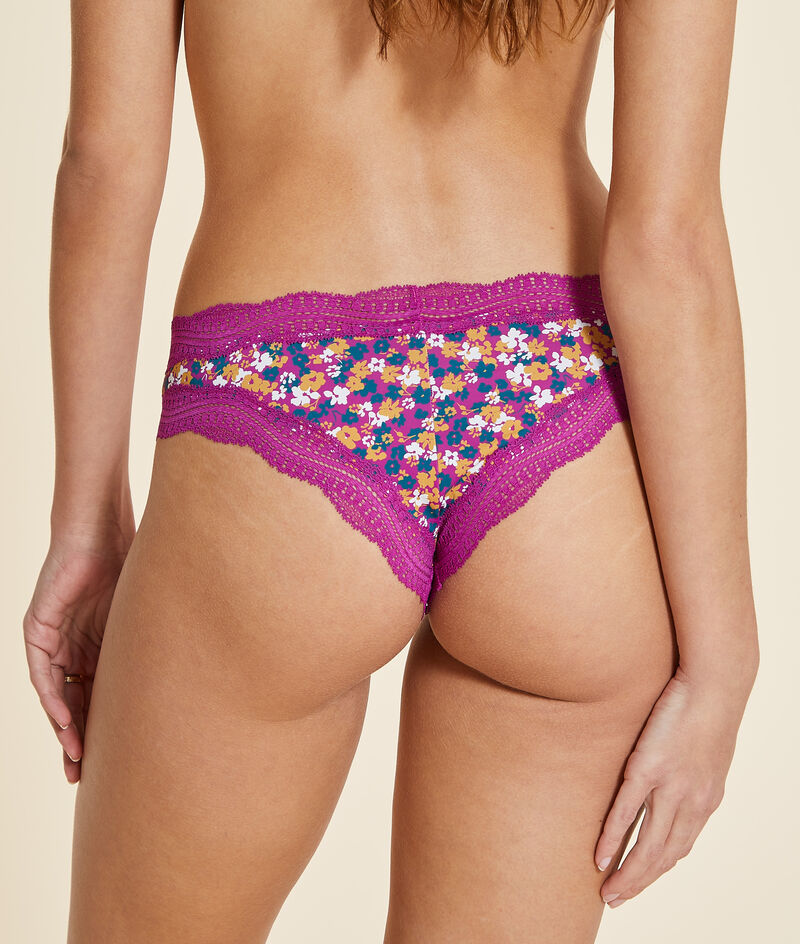 Microfiber and printed lace thong;${refinementColor}