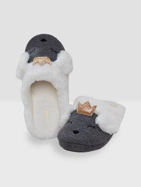 Animal slippers grey.