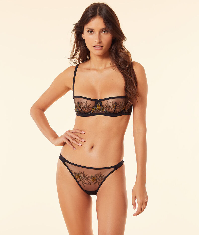 Embroidered tulle balconette bra without padding;${refinementColor}