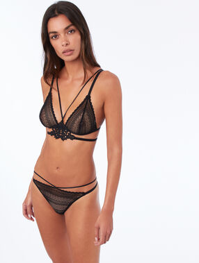 High-cut panties with straps black.