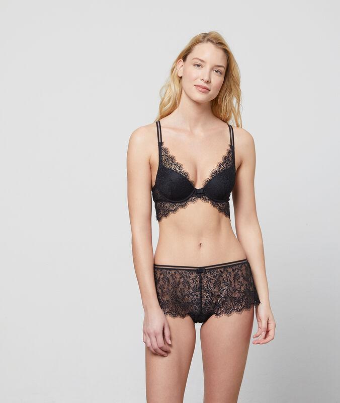 Bra no.6 - natural lace triangle black.