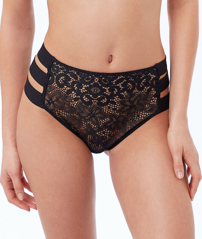 Lace high-waist briefs, 3 bands black.