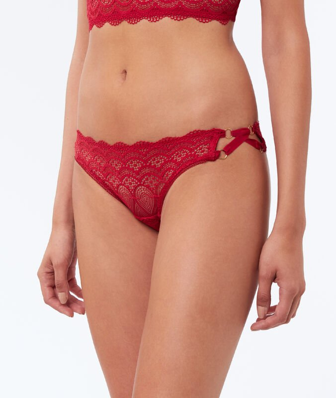Lace micro-shorts, side ties red.