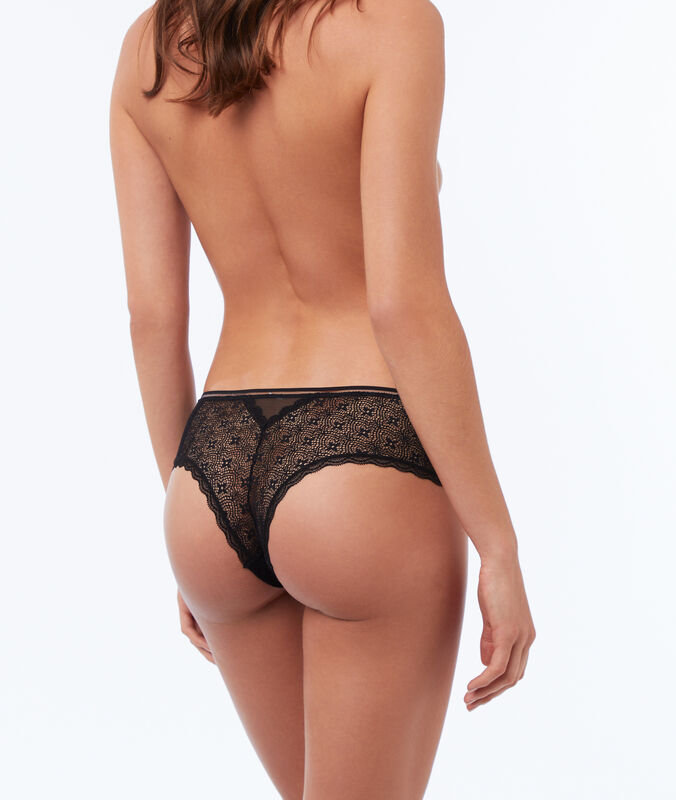 Floral lace hipsters black.