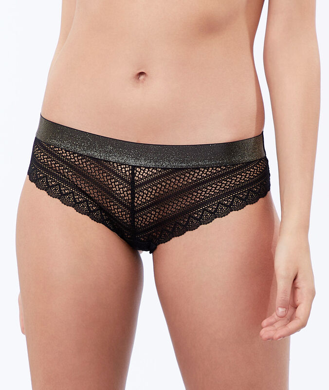 Lace shorts, iridescent sides black.