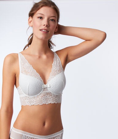 Bra no. 6 - lace padded bra with underbust band ecru.