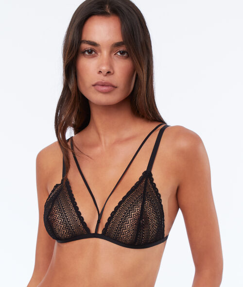 Lace triangle bra with laces
