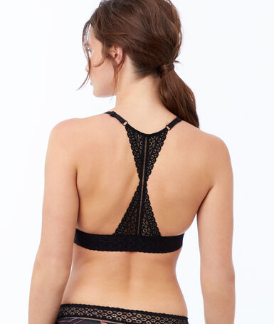 Microfiber triangle bra with racer back black.