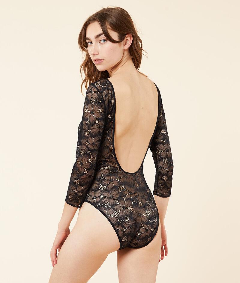 Lace low back bodysuit;${refinementColor}