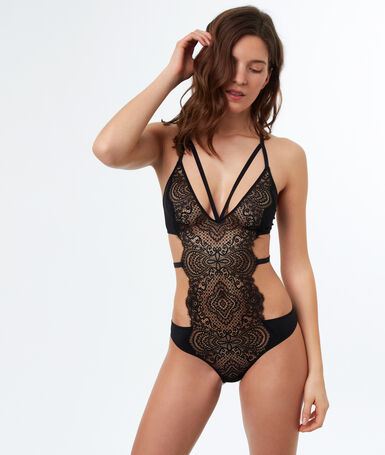 Indented lace bodysuit black.