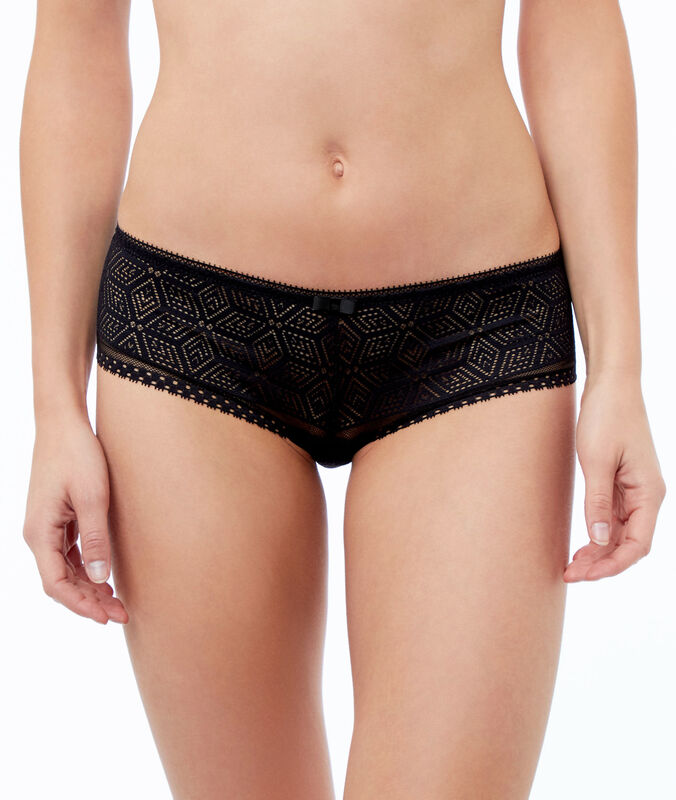 Ornate lace microshorts black.