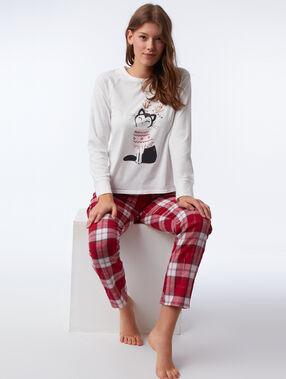 Three-piece cat print pyjama set rose.