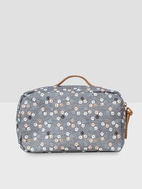 Cat print washbag grey.