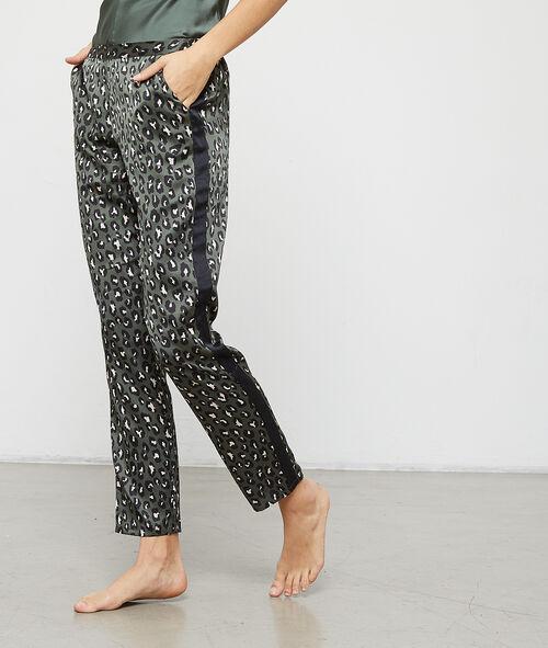Leopard satin trousers