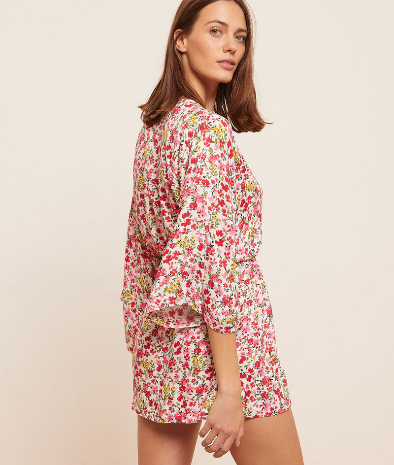 Printed satin kimono;${refinementColor}