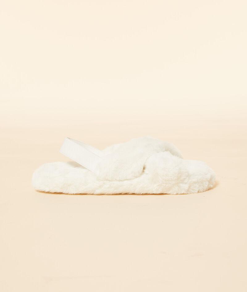 Furry open-toed mule slippers ;${refinementColor}