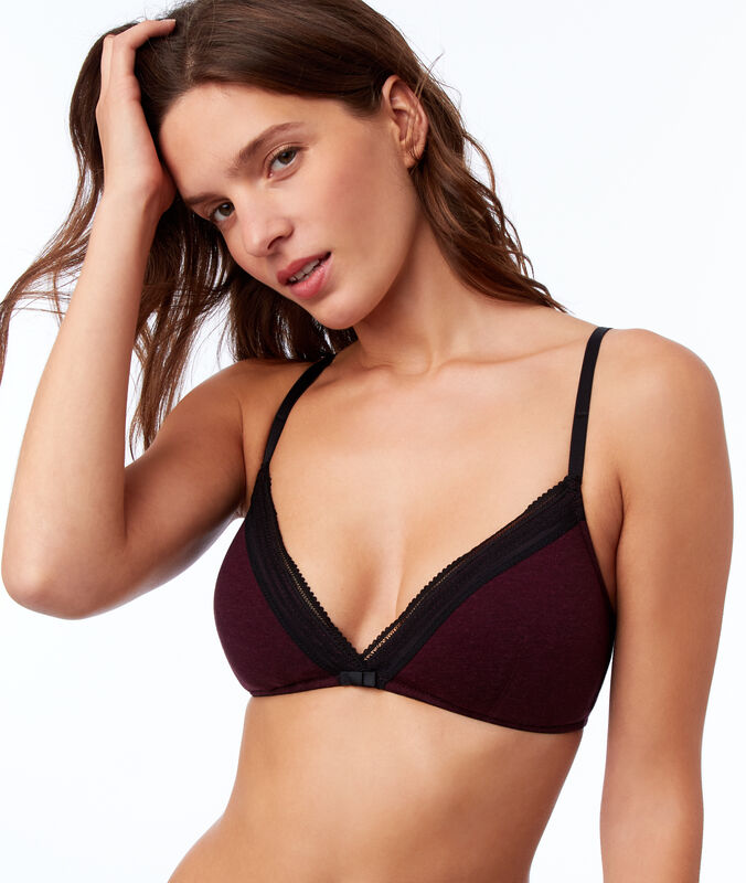 Cotton triangle bra garnet burgundy.
