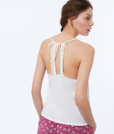Lace neckline top white.