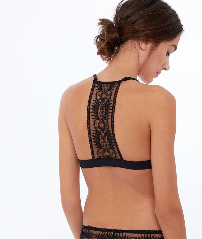 Lace and mesh triangle bra black.