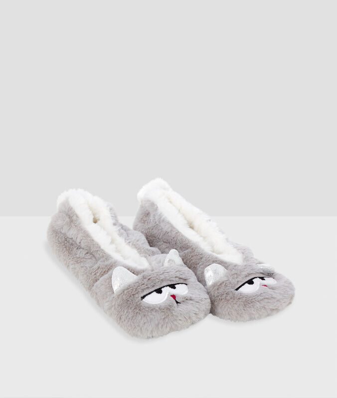 Soft cat slippers gray.