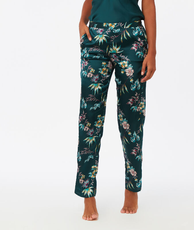 Printed satin trousers blue green.