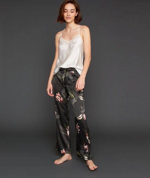 Pantalon large satiné imprimé floral