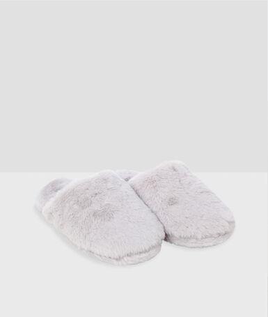 Lined slippers ecru.