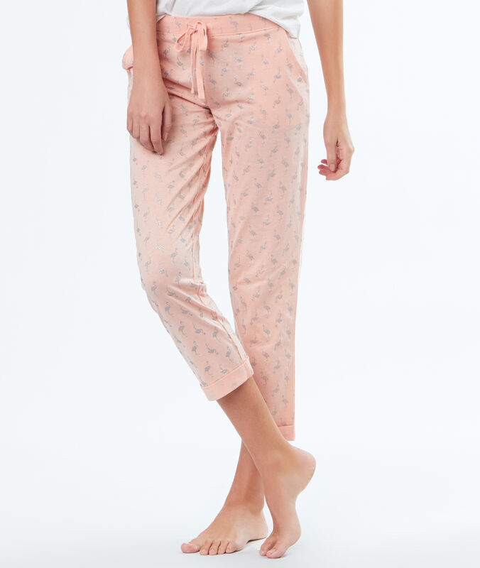 Sparkly pink flamingo print trousers pink.