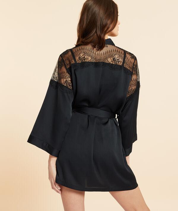 Satin kimono with lace details;${refinementColor}