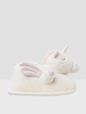 3d unicorn slippers ecru.