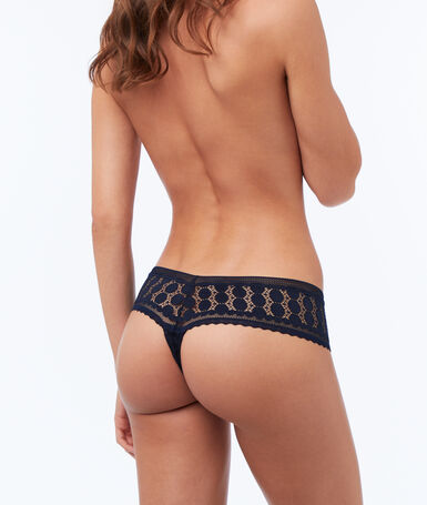 All-lace tanga midnight blue.