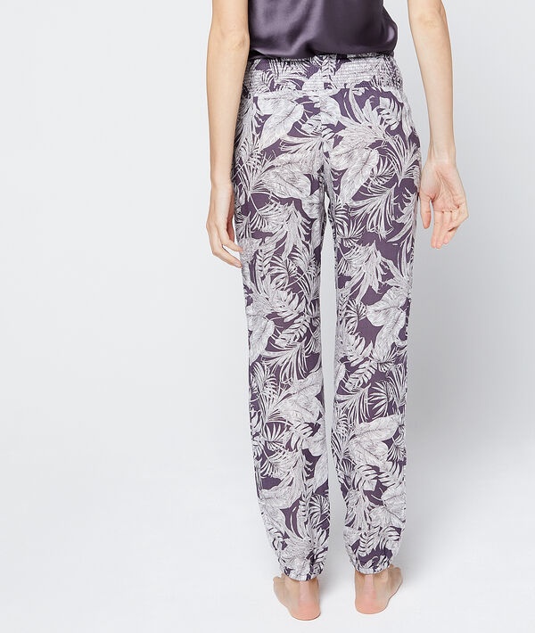 Satin trousers with foliage print