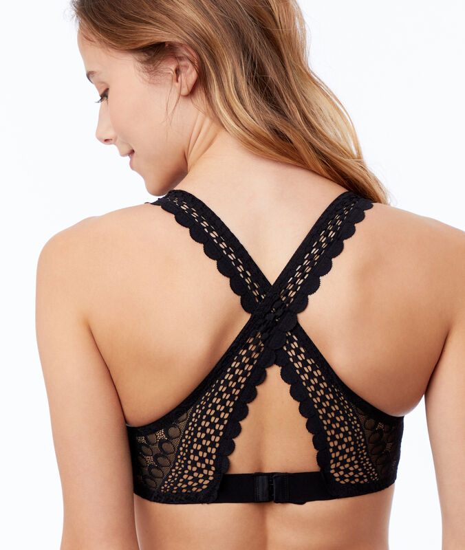 Bra no. 6 - natural lace triangle, crossed-back black.