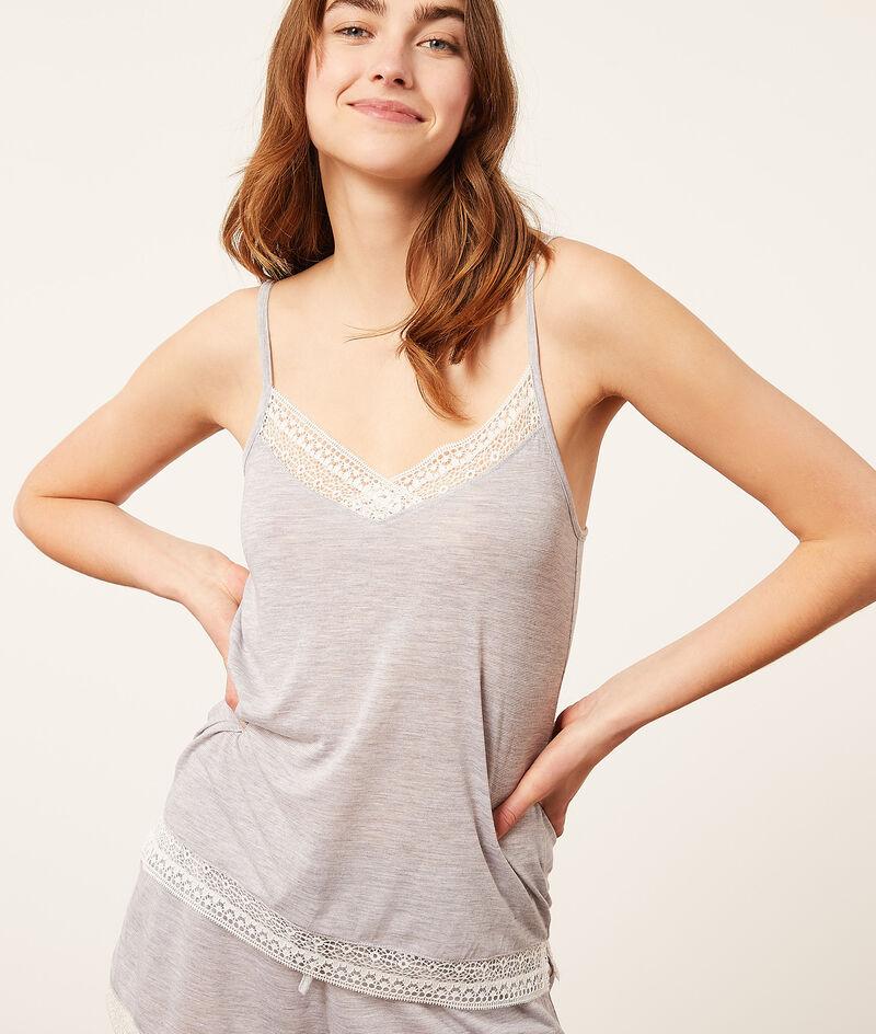 Lace neckline top;${refinementColor}