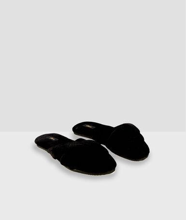 Žabky z bavlny černá.