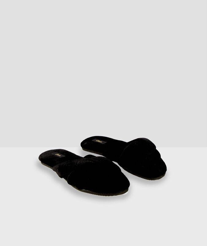 Cotton flip-flop slippers black.