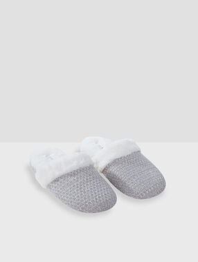 Metallic thread mule slippers grey.