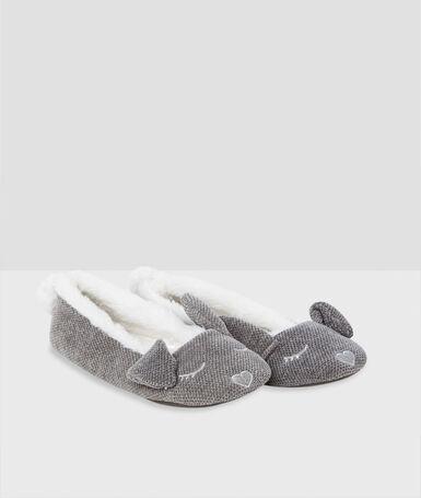 Bunny ears ballerina slippers gray.