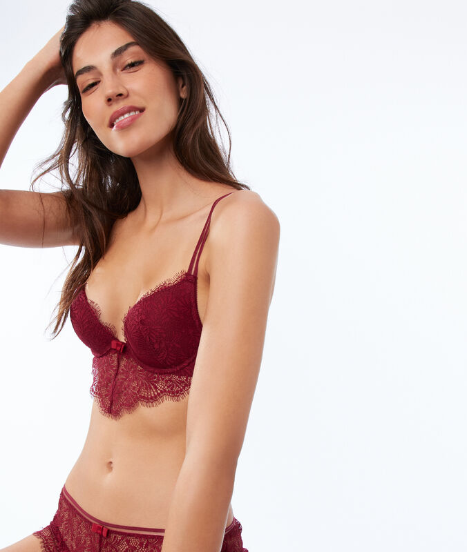 Bra no. 2 - lace plunging push-up bra, plunging basque garnet burgundy.