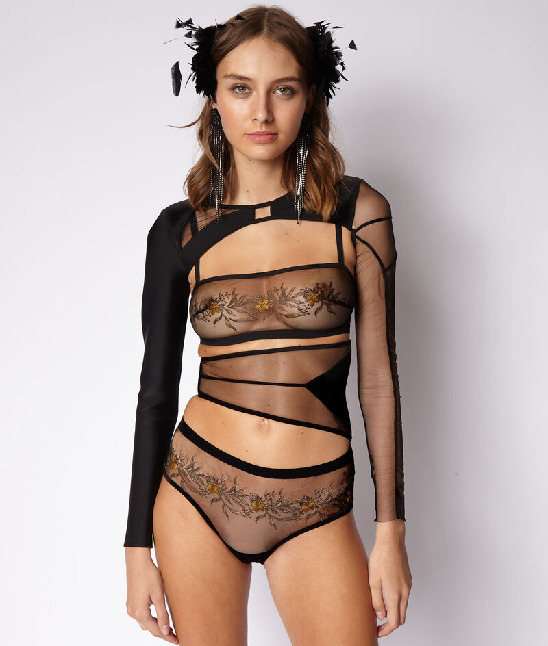 Embroidered tulle midi panty ;${refinementColor}