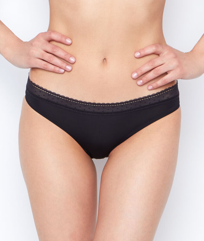Micro and lace knickers black.