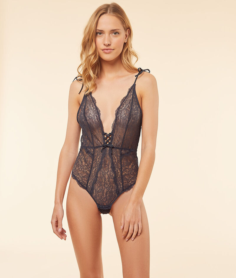Lace body with plunge neckline ;${refinementColor}