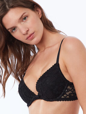 Bra no. 2 - plunging push-up, embossed lace black.
