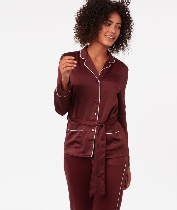 Striped satin men's pyjama shirt burgundy.