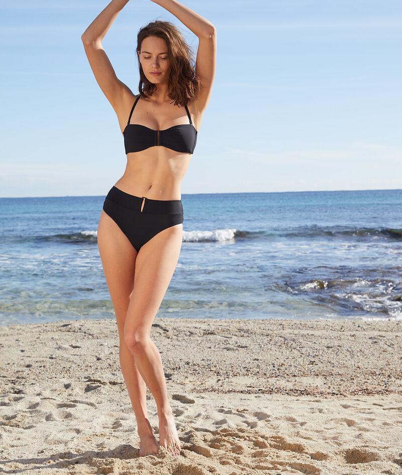 Wireless buckle bandeau bikini top;${refinementColor}