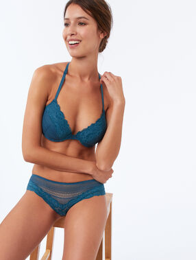 Bra no. 5 - padded bra with racer back peacock blue.