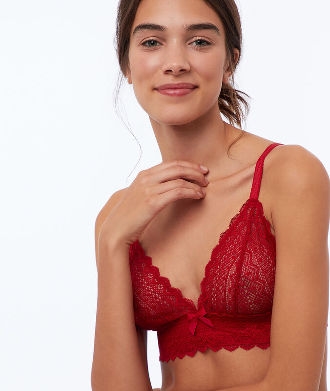Lace triangle bra red.