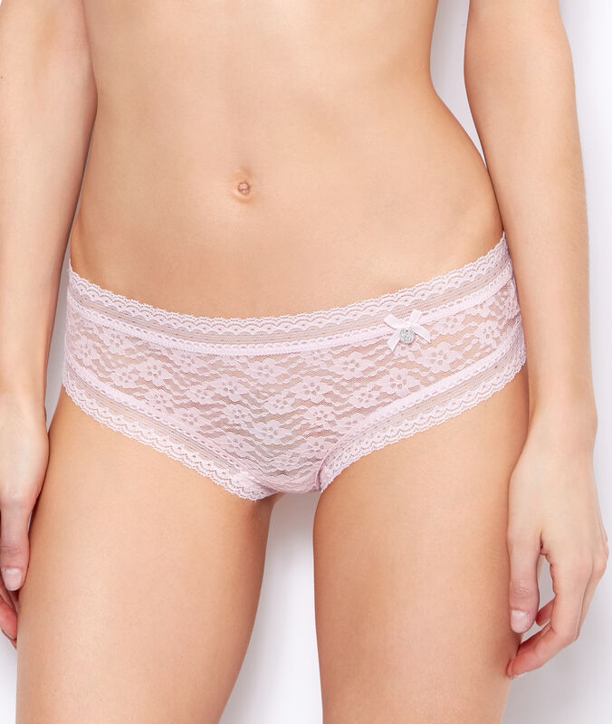 Floral lace hipsters powder pink.